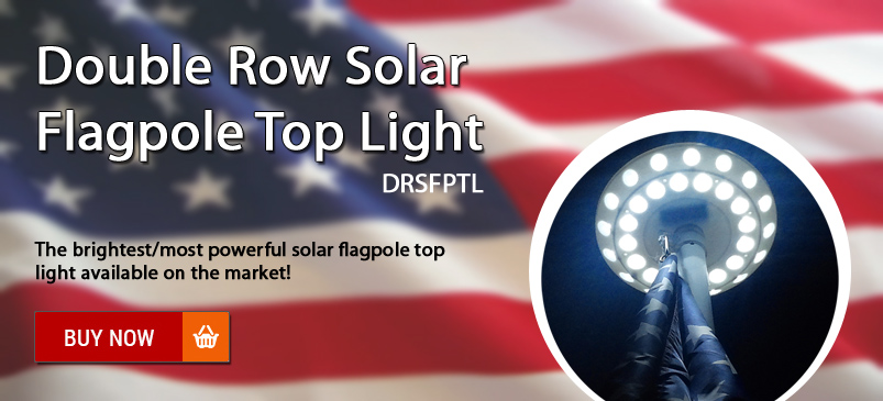 Double Row Solar Flagpole Top Light