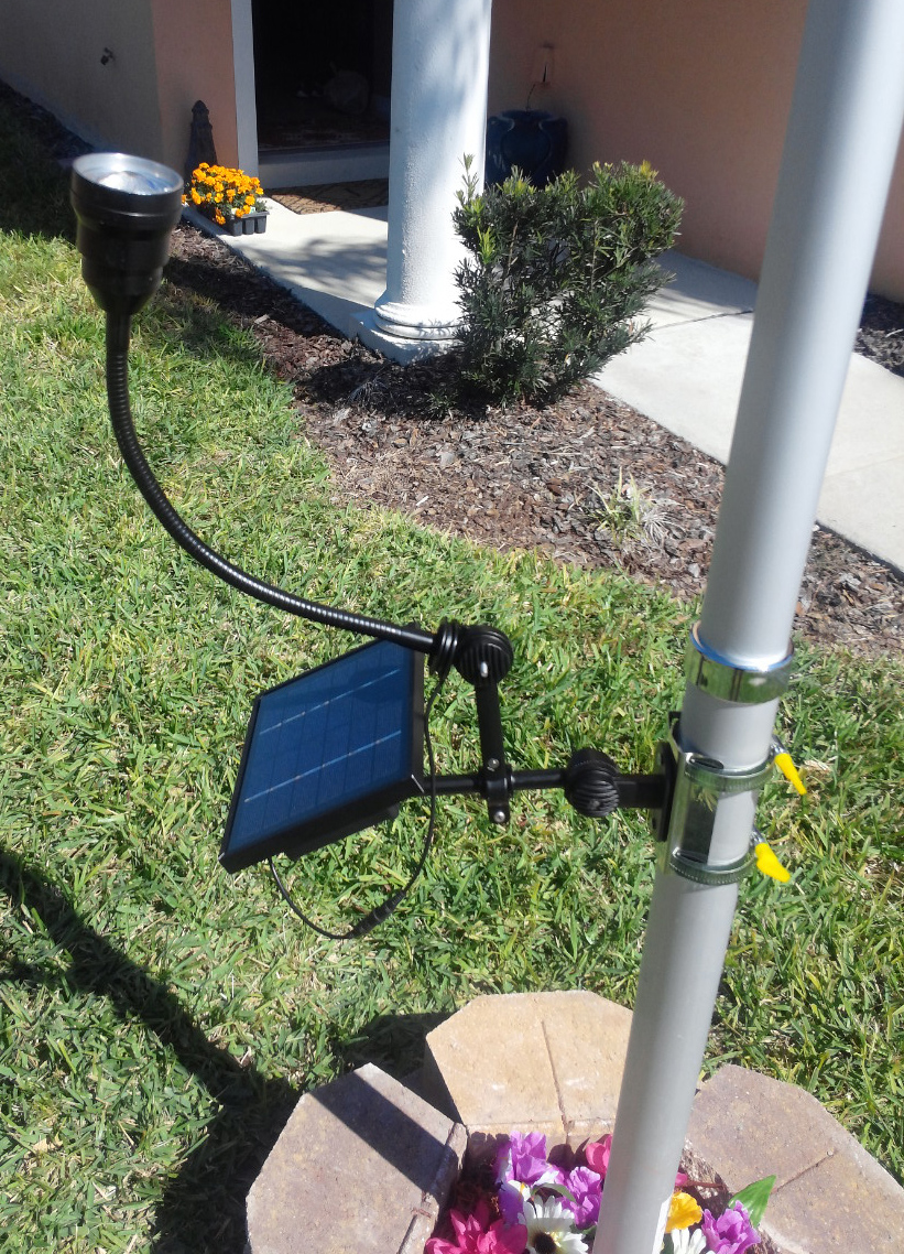 Commercial Solar Flagpole Light with adjustable CREE neck