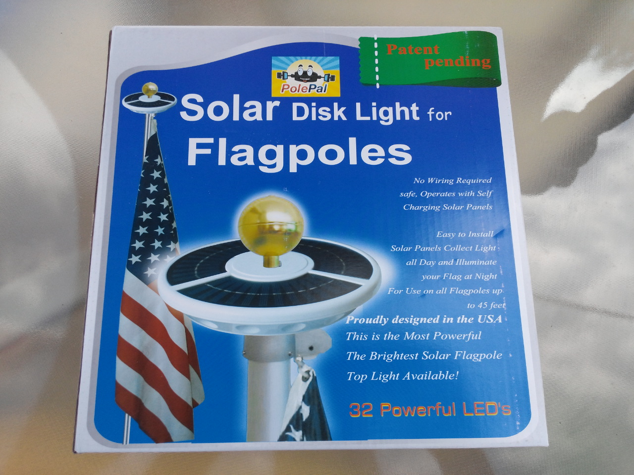 Double Row Solar Flagpole Top Light Flag Box - PolePalUSA