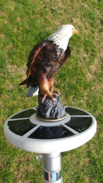 Crane Solar Light Metal Bird Garden Stake Yard Art Statue