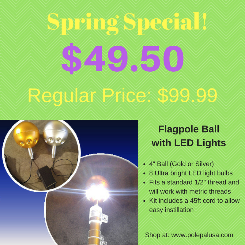 Flagpole Ball with LED Lights - SALE!