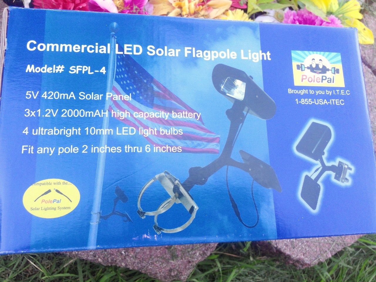 Entry Level Commercial Solar Flagpole Light- Product Box - PolePalUSA