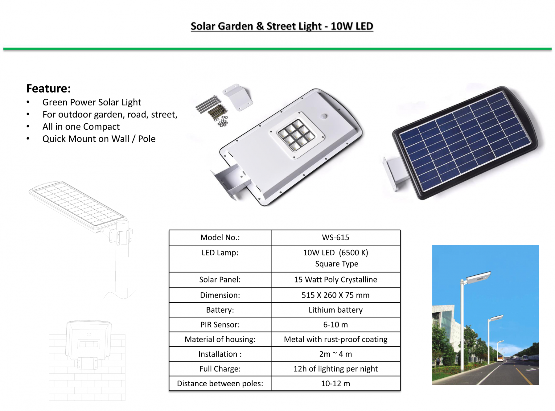 Solar Street Light / Garden Light - 10 Watts