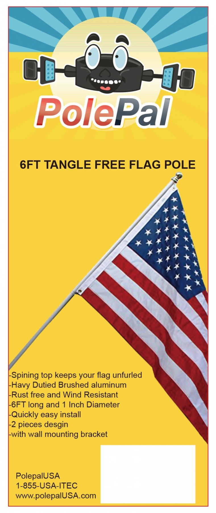 Tangle Free Spinning Flagpole Tag