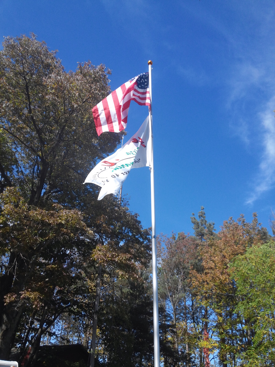 2 Flags Flying on 20ft. Telescopic Aluminum Flagpole