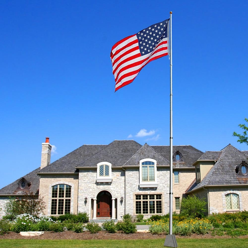 20 ft Telescopic Aluminum Flagpole at a House
