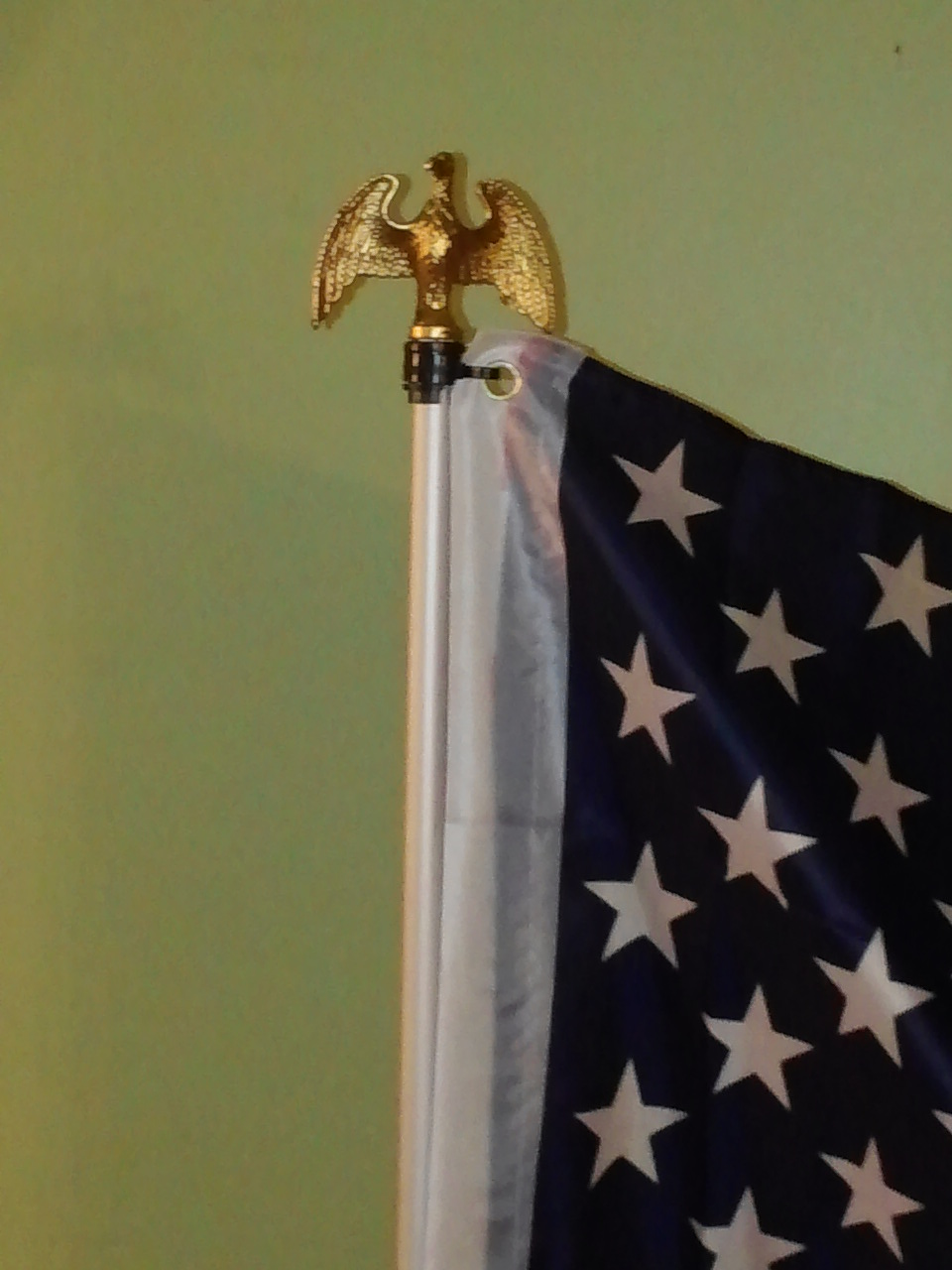 Indoor Display Flag with Gold Eagle Topper