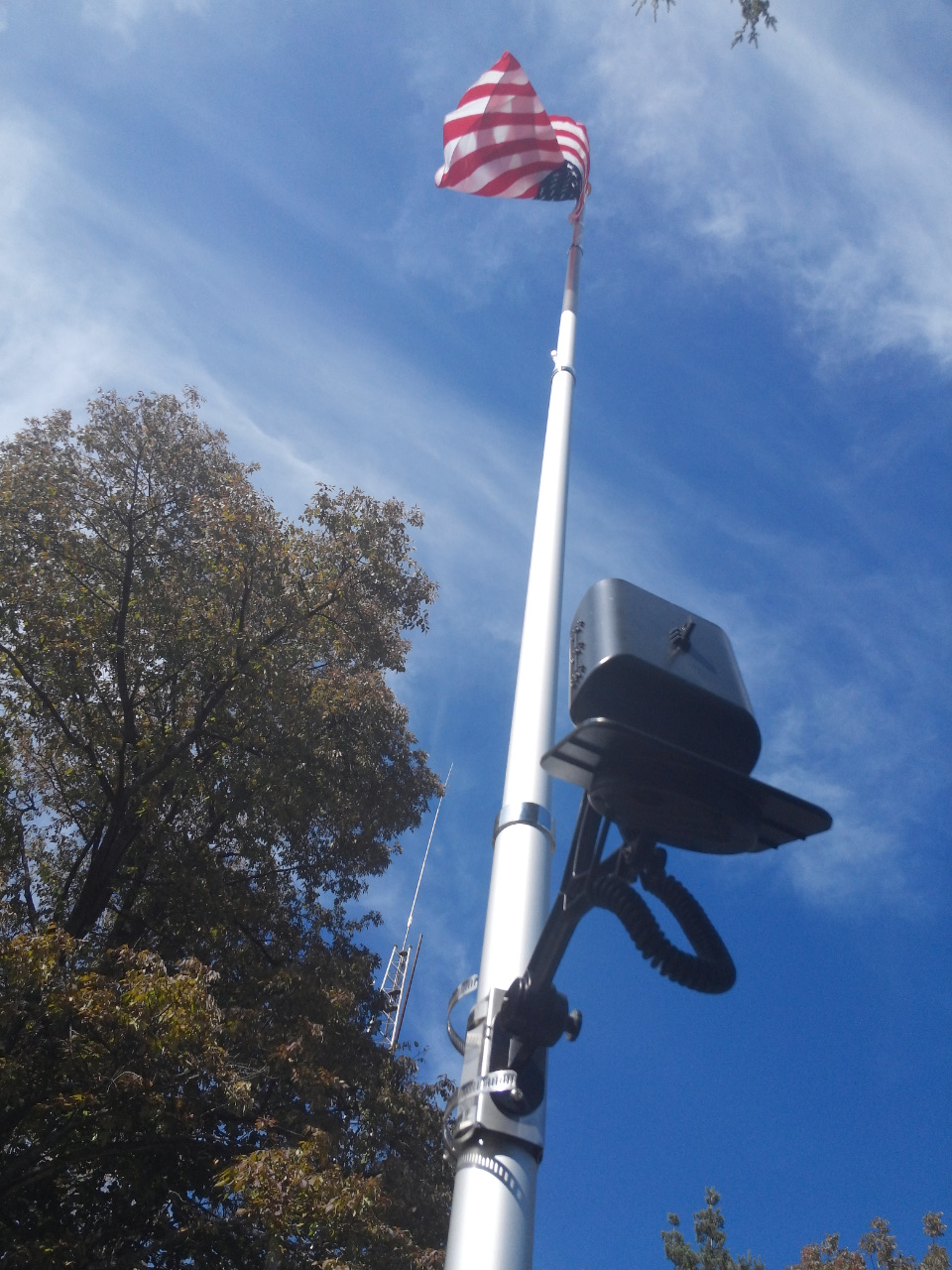 20ft. Telescopic Aluminum Flagpole with Commercial Solar Flagpole Light